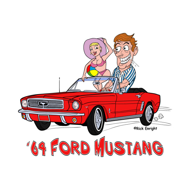 1964 Red Ford Mustang Cartoon Classic Cars T Shirt Teepublic