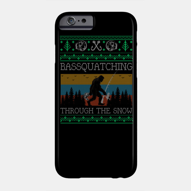 Christmas Sasquatch Bass Fishing Bigfoot Ugly Christmas Sweater Phone Case
