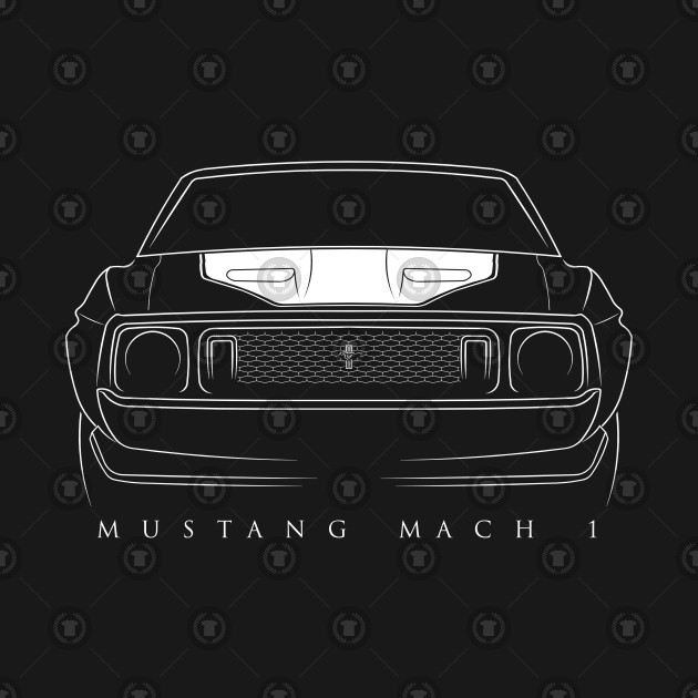 dada10270a 1973 Ford Mustang Mach 1 - front stencil, white - Mustang - T-Shirt ...