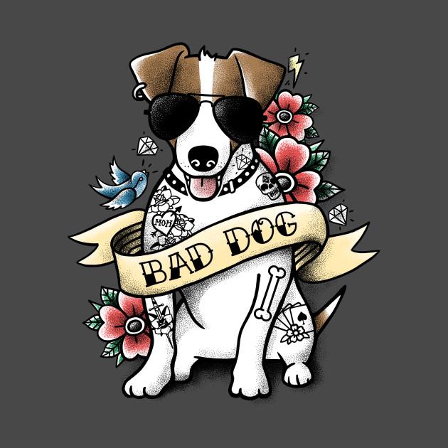 bad dog jack russell tattoo dogs t shirt teepublic. Black Bedroom Furniture Sets. Home Design Ideas