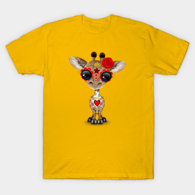 5a4722b77 Red Day of the Dead Sugar Skull Baby Giraffe - Day Of The Dead - T ...