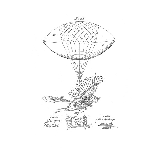 127478c0 Flying Machine Vintage Patent Drawing Funny Novelty T-Shirt - Patent ...