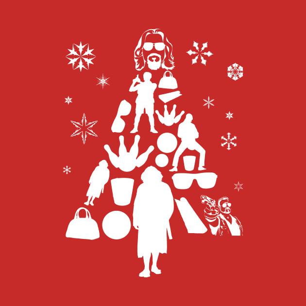Big Lebowski Christmas Tree Silhouette White