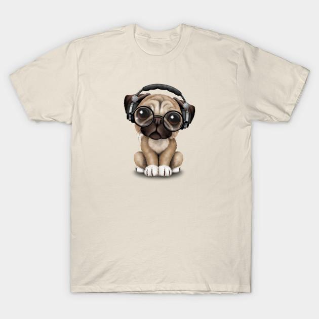 Cute Pug Puppy Dj Wearing Headphones and Glasses