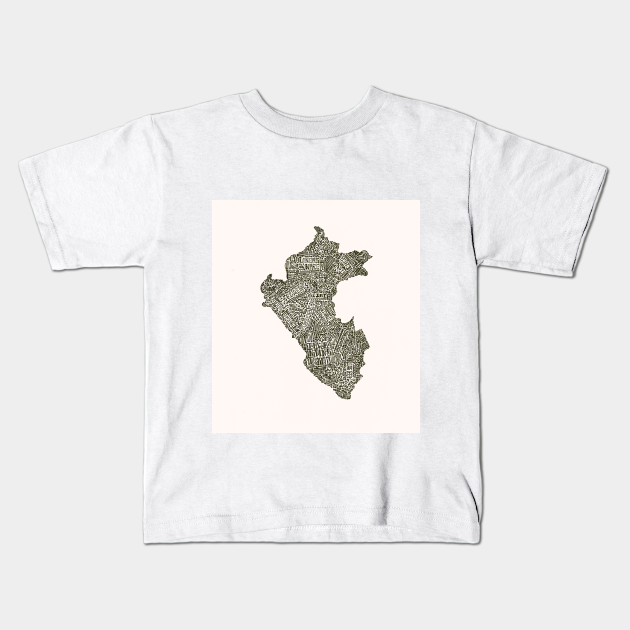 Lettering Map Of Peru Map Kids T Shirt Teepublic