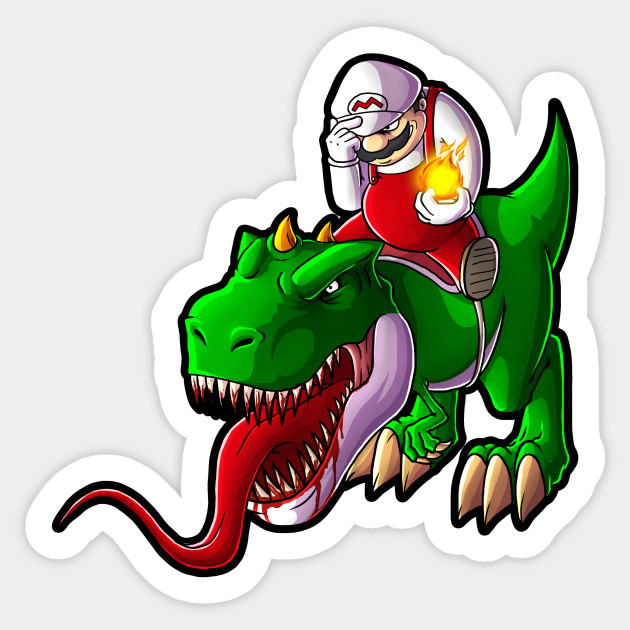 mario and yoshi sticker - yoshi - sticker | teepublic uk