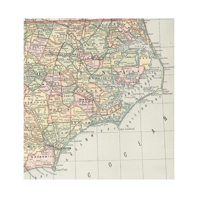 Vintage Map of Eastern North Carolina (1891) - Eastern Nc - Mug ...
