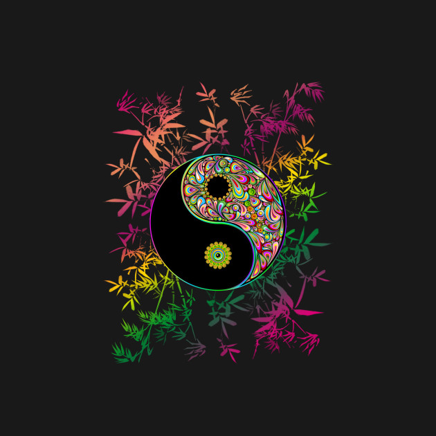 Yin Yang Psychedelic Rainbow Colors