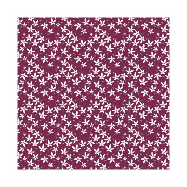 Maroon & White Floral Pattern