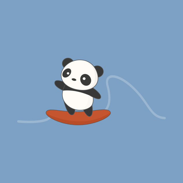 Cute Surfing Panda Bear