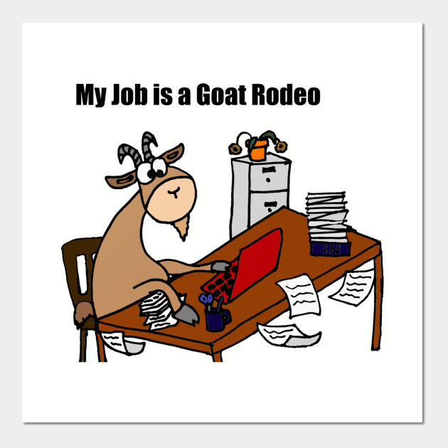 Funny Goat Rodeo Work Chaos Cartoon