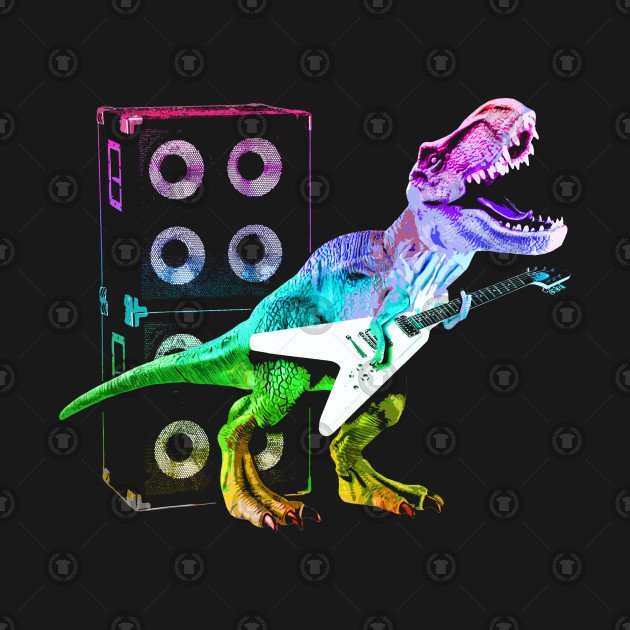 T-Rex Dinosaur and Guitar