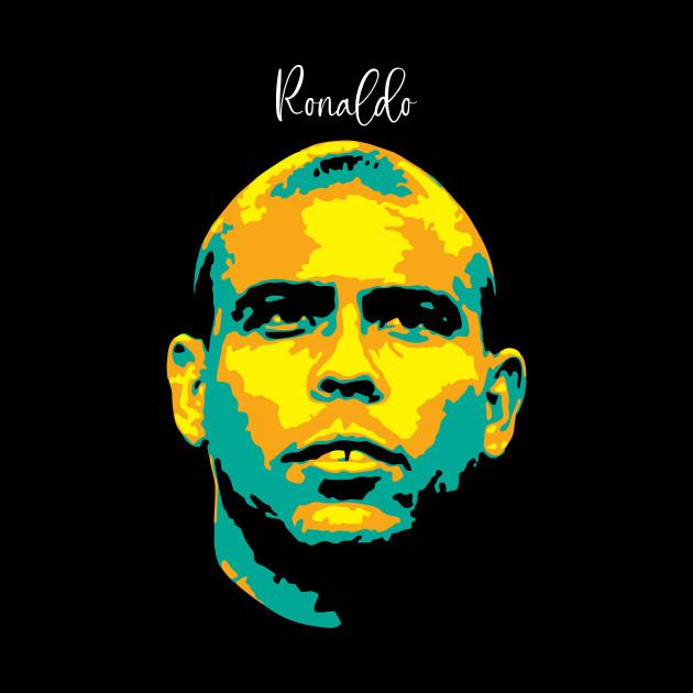 Ronaldo Pop Art. brazilian footballer. Ronaldo Luis Nazario de Lima. legend soccer player.