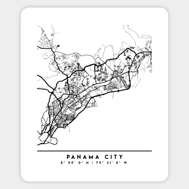 PANAMA CITY PANAMA BLACK CITY STREET MAP ART