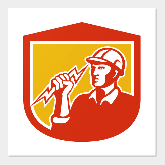 Electrician Clutching Lightning Bolt Shield - Electrician Clutching ...