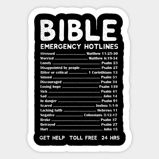 Bible Emergency Numbers Shirt Christian Verses Gift Christian Verses Gift Sticker Teepublic