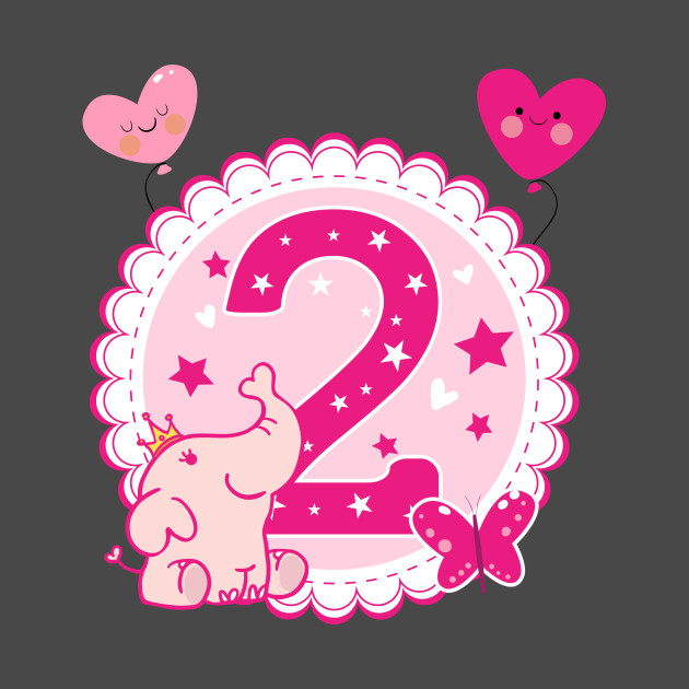 Second Birthday Girls Elephant 2nd 2Girl Daughter Niece Cute Sweet Year Old Gifts T Shirt