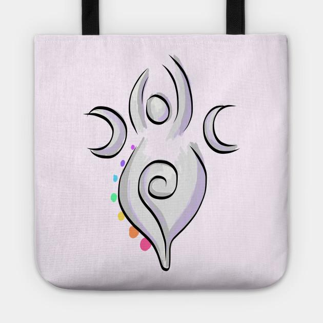 Spiral Goddess T-Shirt Three Symbol Wiccan Pagan and Chakras - on light