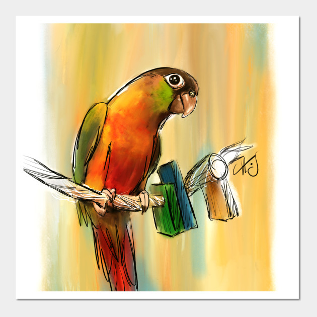 Green Cheek Conure Painting - Parrot - Wall Art | TeePublic