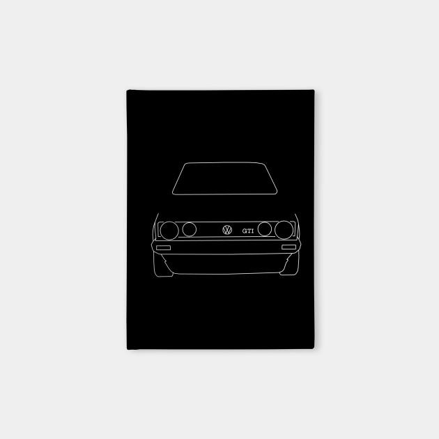 a85c94d02 VW Golf GTI Mk 1 outline graphic (white) - Golf - Notebook   TeePublic