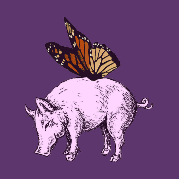 pig and butterfly,