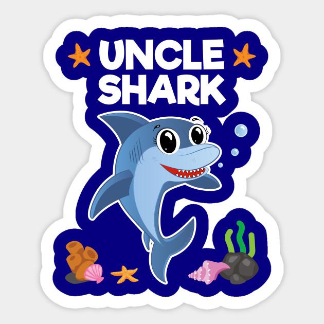 Uncle Shark Birthday Gift Sticker