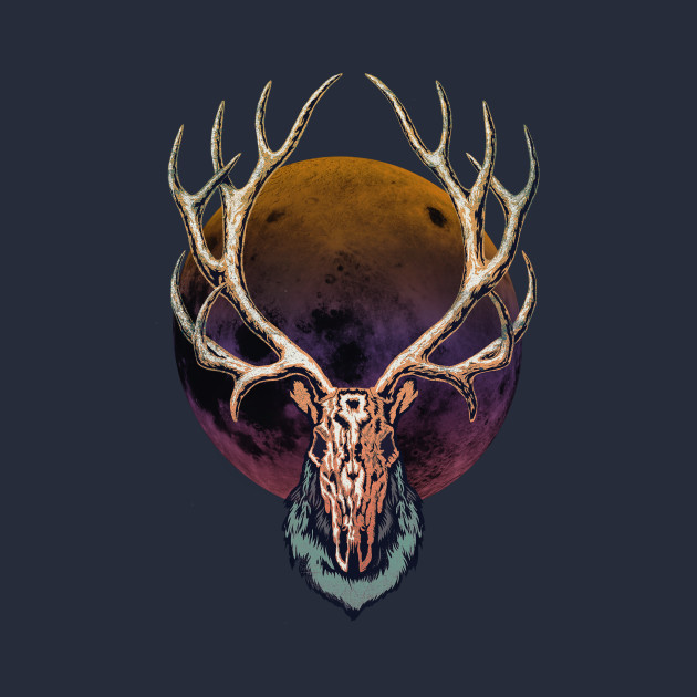 Full Moon Reindeer Skull