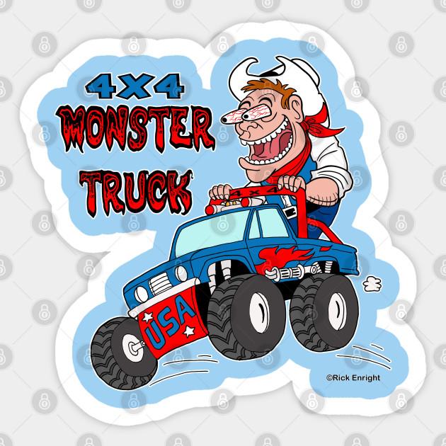 4x4 Monster Truck Crazy Cowboy Cartoon Cowboy Monster Adesivo Teepublic It