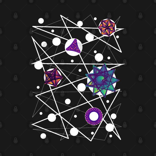 Space Time Continuum | Geometric Blue Red Purple Maurer Roses Black