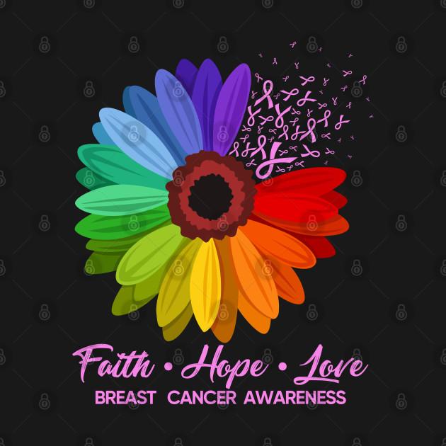 Faith Hope Love Breast Cancer Awareness Sunflower Gift