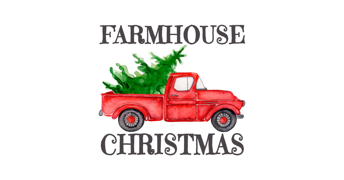 Christmas Red Truck.Farmhouse Christmas Watercolor Retro Red Truck With Farm Fresh Xmas Tree By Marinasarda