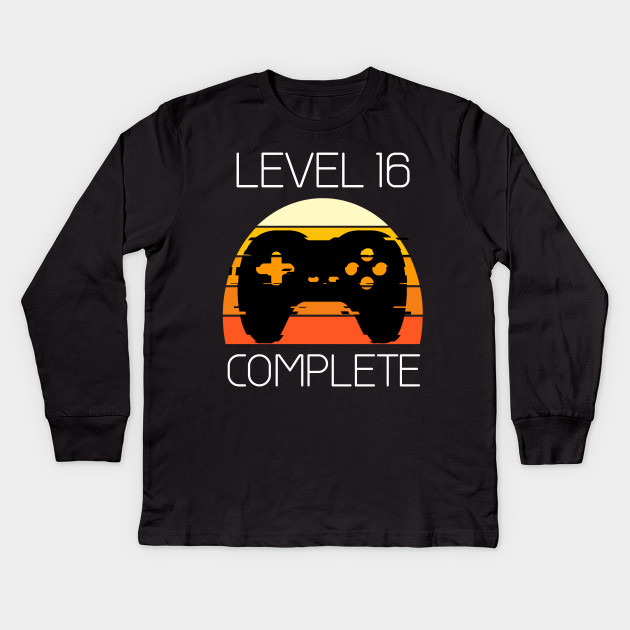 Vintage 16th Birthday Level 16 Old Funny Gamers Gift T Shirt Kids Long Sleeve