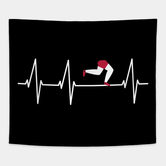 Runner Heartbeat T Shirt Funny Running Shirt Runner Gift Tee Tapestry