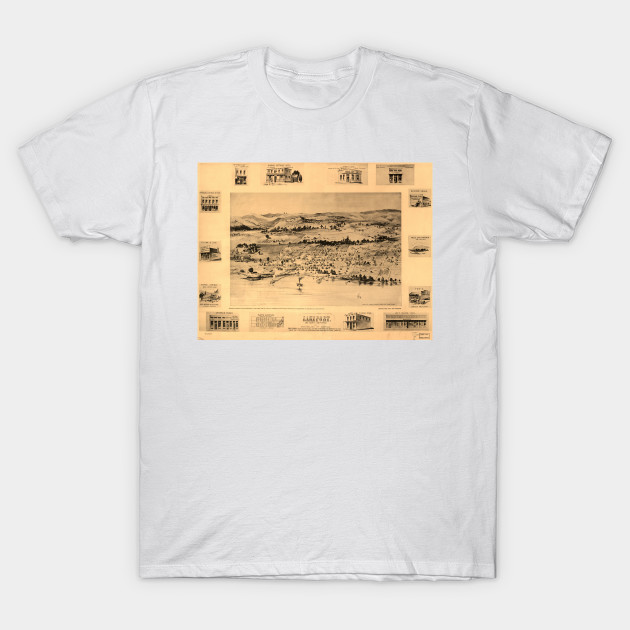 Vintage Pictorial Map Of Lakeport Ca 1888 Lakeport Ca T Shirt