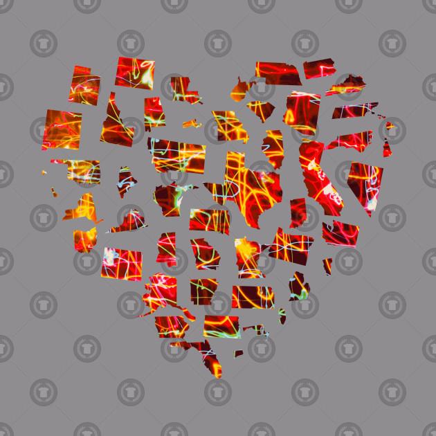 American 50 States Heart Design