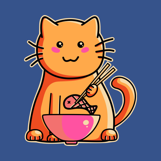 Cute cat eating fish with chopsticks