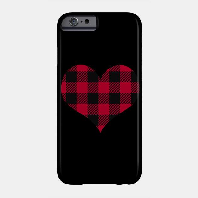 Cute Plaid Heart Womens Valentine's Day Heart Phone Case