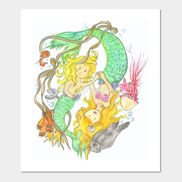 Mermaid mother and child - Mermaids - Wall Art | TeePublic