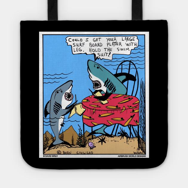 Undersea Shark Restaurant Surf Board Platter Funny Fish Novelty Gift