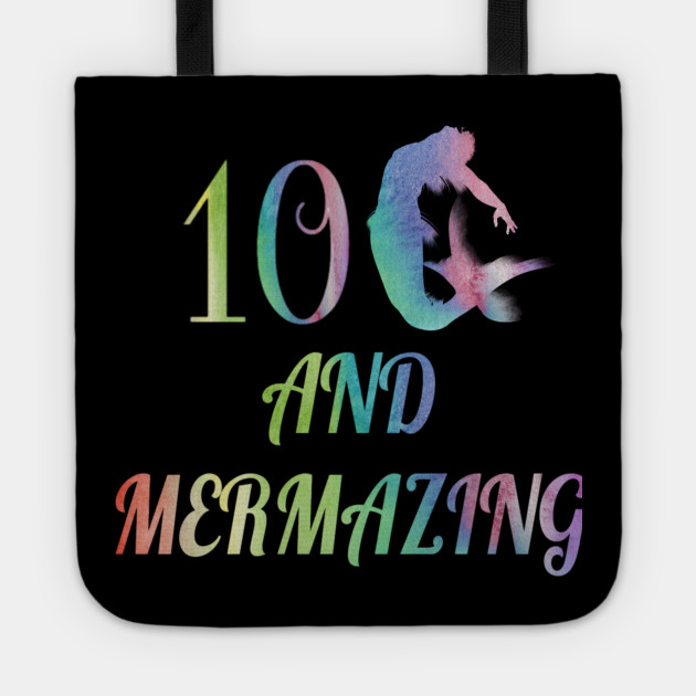 Kid Mermaid Girl 10th Birthday Shirt 10 Years Old Party Gift Tote