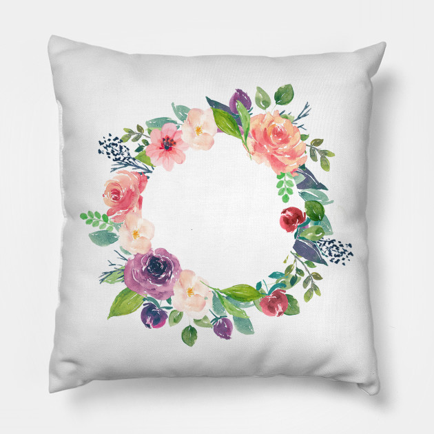 Pastel watercolors flowers wreath - Floral Wreath Frame - Pillow ...