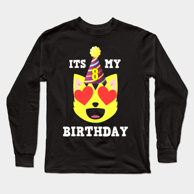 8th Birthday T Shirt Heart Eyes Cat Emoji Long Sleeve