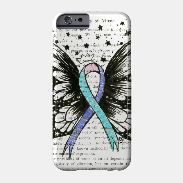 Thyroid Cancer Ribbon W Wings Color Design Thyroid Cancer