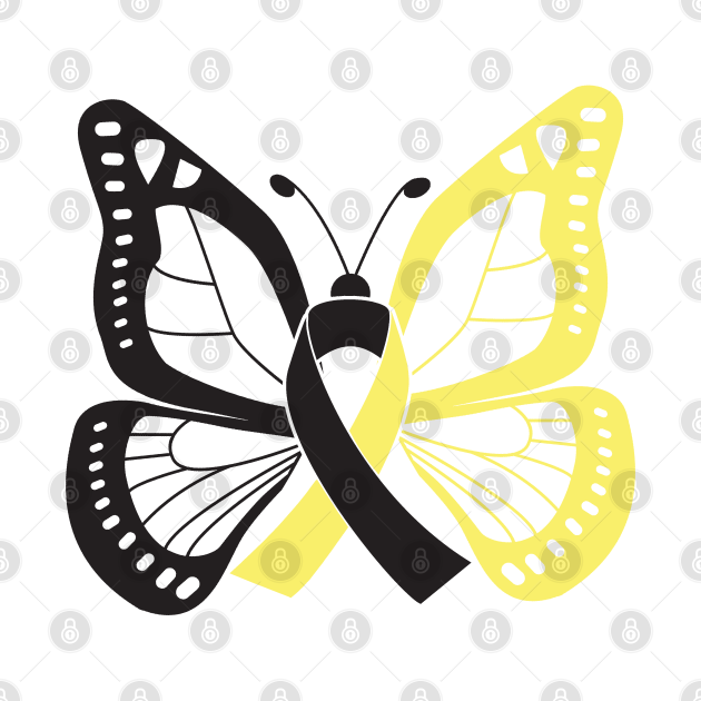 Black and Gold Butterfly Awareness Ribbon