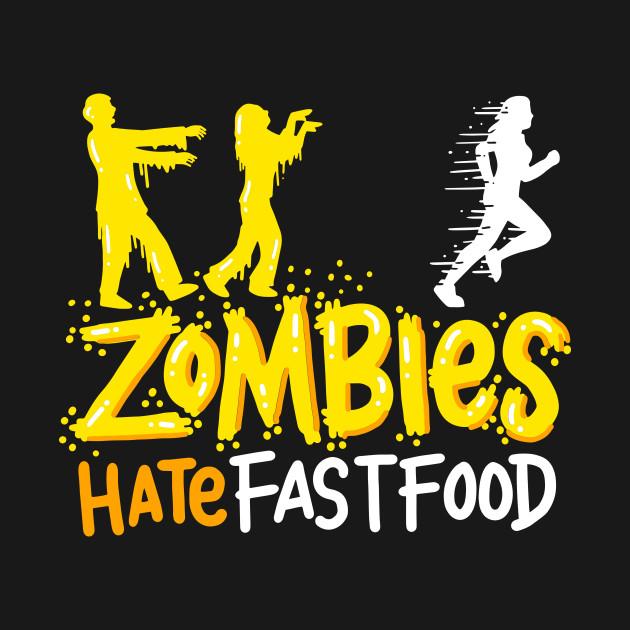 ZOMBIES HATE FAST FOOD Walking Dead RUNNING ZOMBIE Funny Men/'s Tee shirt