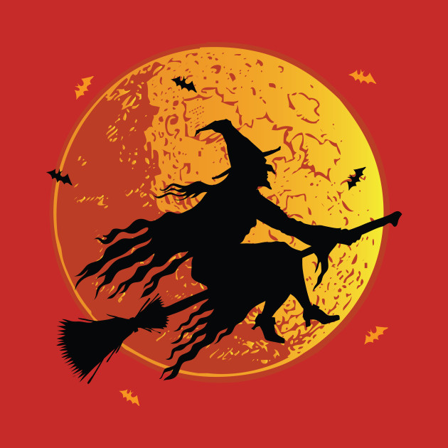 Moon Witch Flying Halloween Design