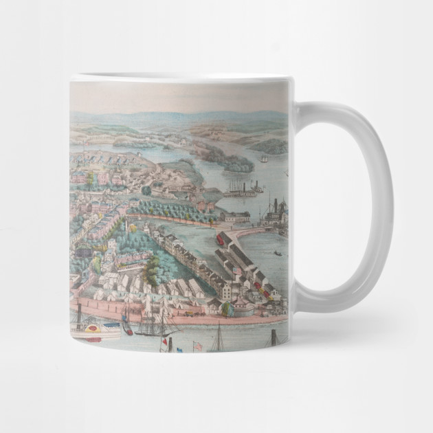 Vintage Pictorial Map of Annapolis MD (1864) - Annapolis Map - Mug ...