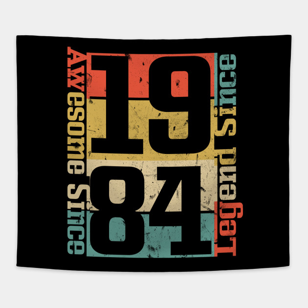 34th Birthday Shirt Awesome Since 1984 Funny Gift Idea Tapestry