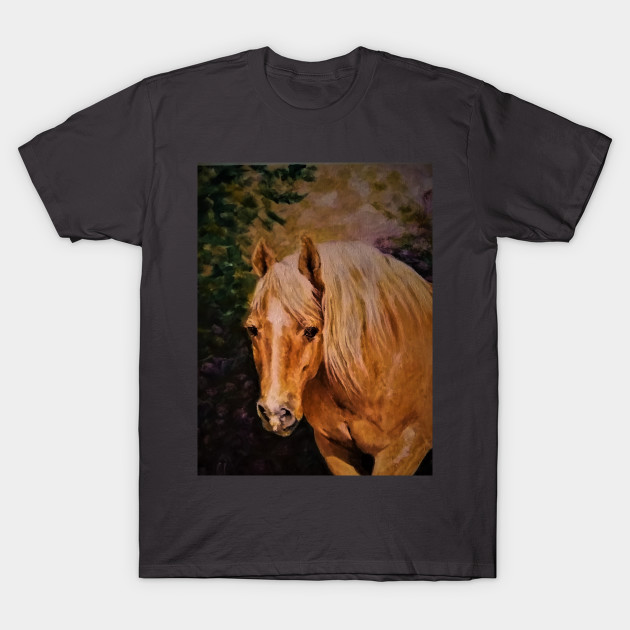 Creative Horse Lovers Birthday Gifts Ideas Palamino Portrait Artist Rendering T Shirt
