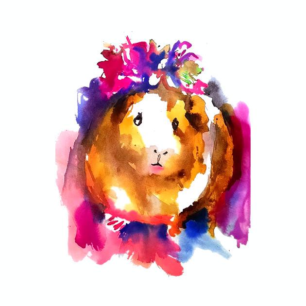 Guinea Pig in Flower Crown